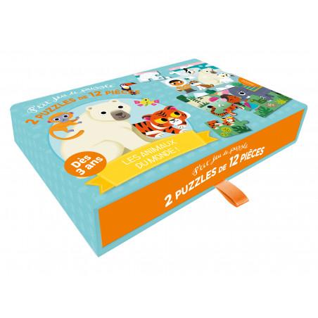 P'TIT JEU DE PUZZLE - 2 PUZZLES DE 12 PIÈCES - LES ANIMAUX DU MONDE !